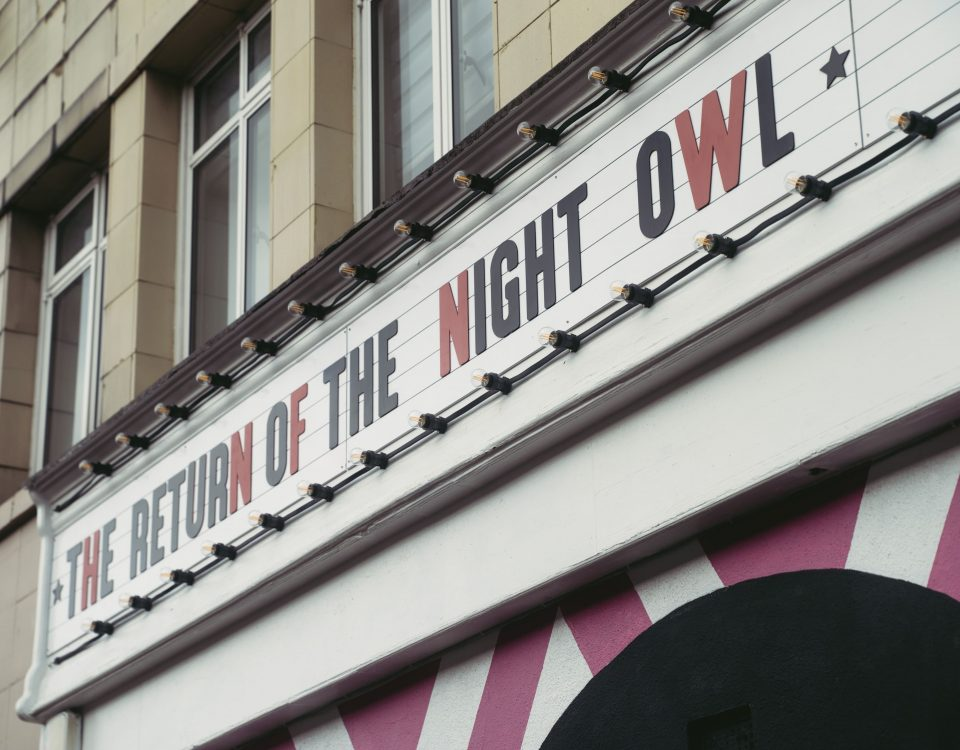 Sign outside The Night Owl Finsbury Park reading ''The Return of The Night Owl''